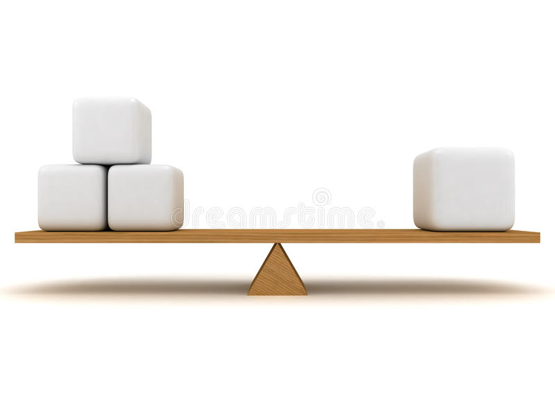 Balance. Between three small figures and one large, which are located on the wooden stake royalty free illustration