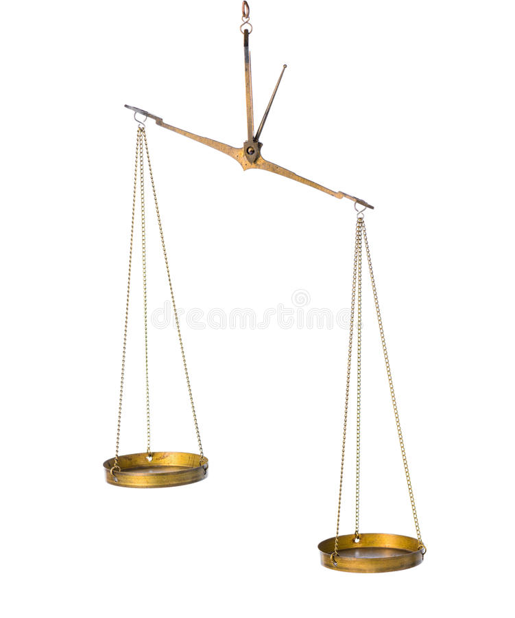Balance abstract concept of vintage brass scales is isolated on royalty free stock images