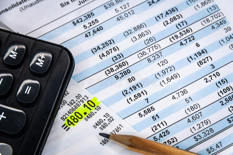 Balance accounting sheet in stockholder report book, balance sheet. Financial income statement with calculator and pencil. Balance the investment portfolio royalty free stock images