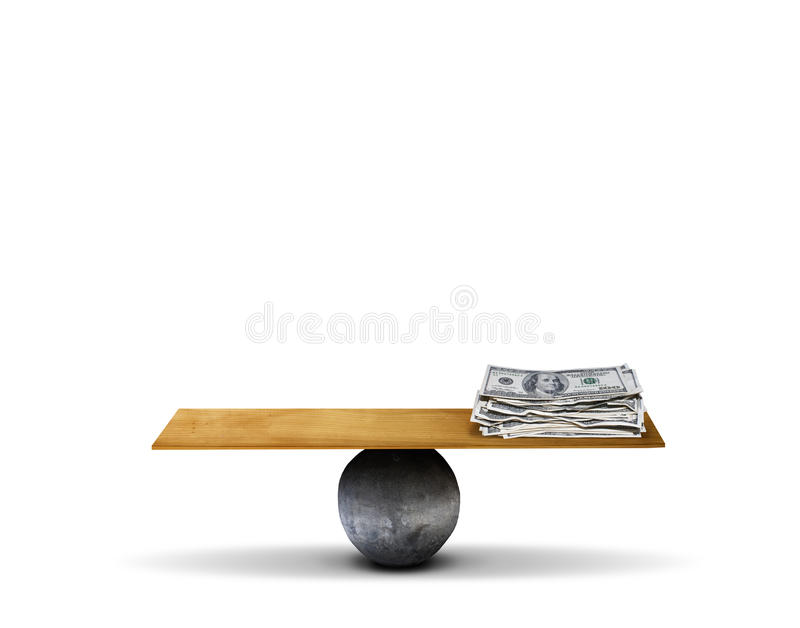 Balance board with money royalty free stock photography