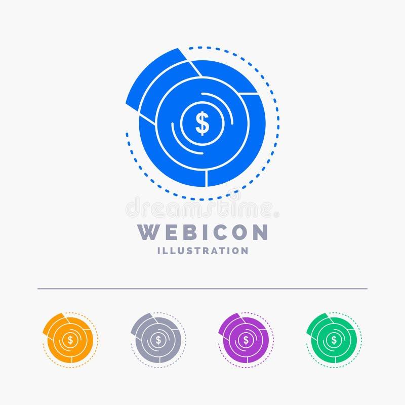 Balance, Budget, Diagramm, finanziell, Diagramm 5 Farbeglyph-Netz-Ikonen-Schablone lokalisiert auf Weiß Auch im corel abgehobenen vektor abbildung