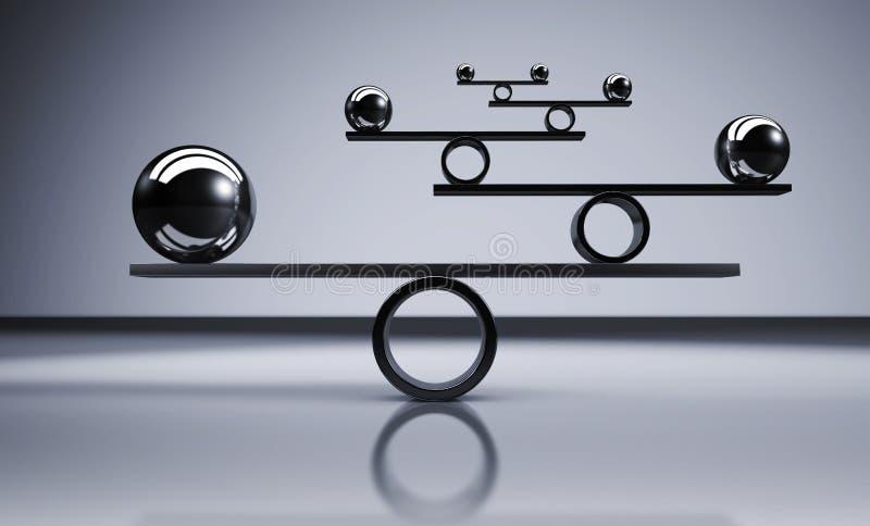Balance Business Lifestyle Concept. Business and lifestyle balance concept with balanced metal balls on grey background 3D illustration stock illustration
