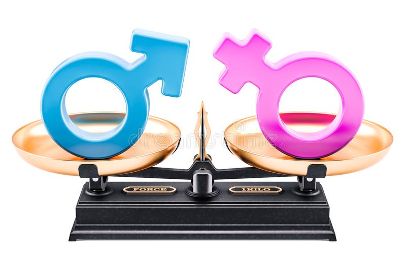 Balance concept, equality of men and women. 3D rendering royalty free illustration