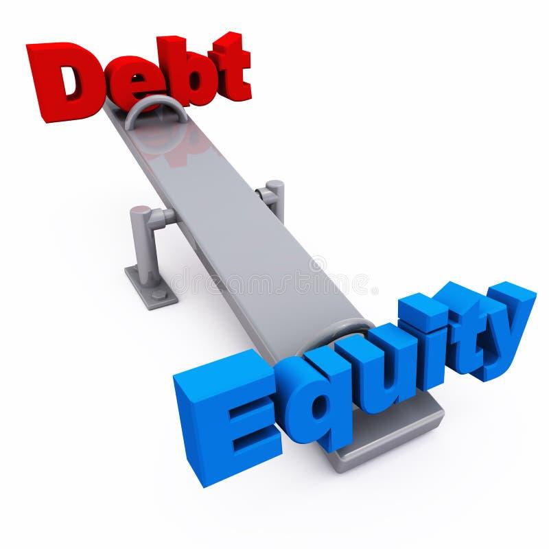 Balance de la equidad de la deuda ilustración del vector
