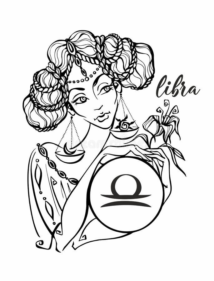 Balance de signe de zodiaque en tant que belle fille horoscope astrologie coloration Vecteur illustration de vecteur