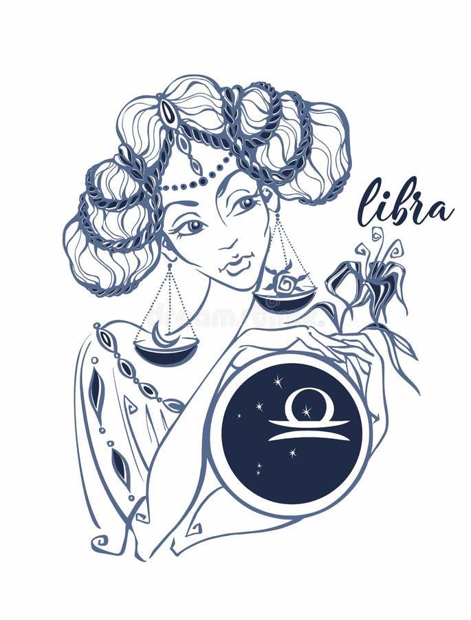 Balance de signe de zodiaque en tant que belle fille horoscope astrologie vainqueur illustration de vecteur