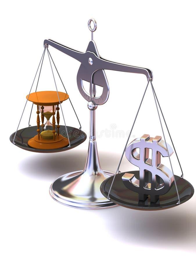 Balance de temps et d'argent illustration de vecteur