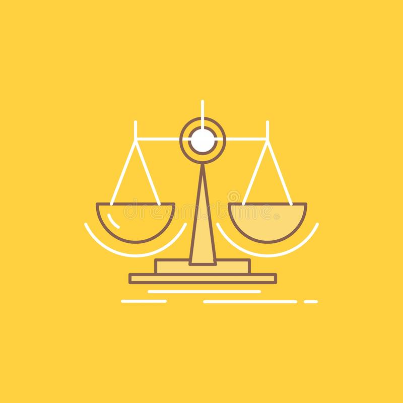 Balance, decision, justice, law, scale Flat Line Filled Icon. Beautiful Logo button over yellow background for UI and UX, website. Or mobile application. Vector royalty free illustration