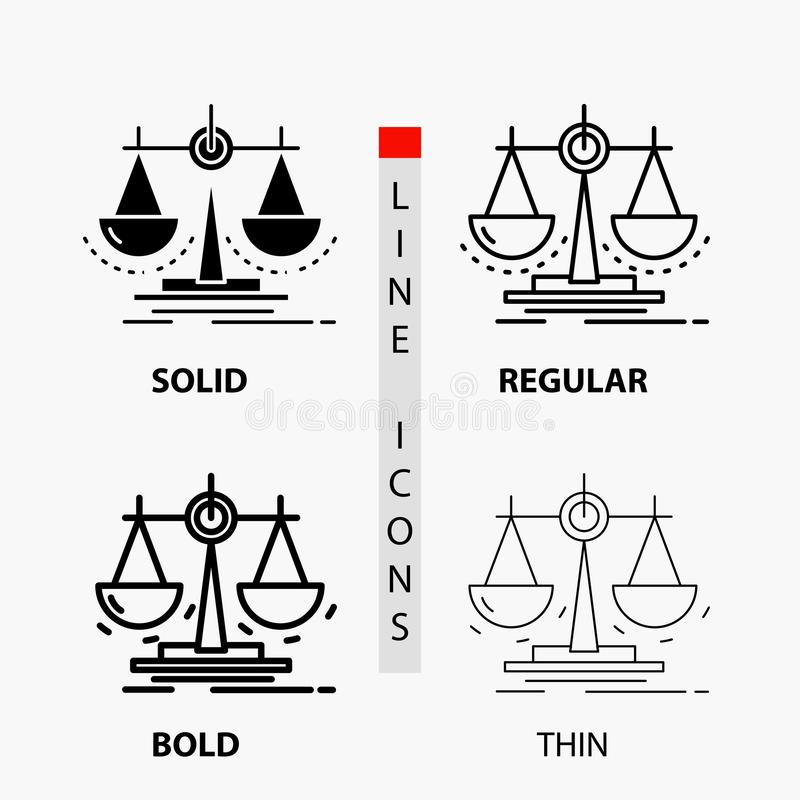 Balance, decision, justice, law, scale Icon in Thin, Regular, Bold Line and Glyph Style. Vector illustration. Vector EPS10 Abstract Template background vector illustration