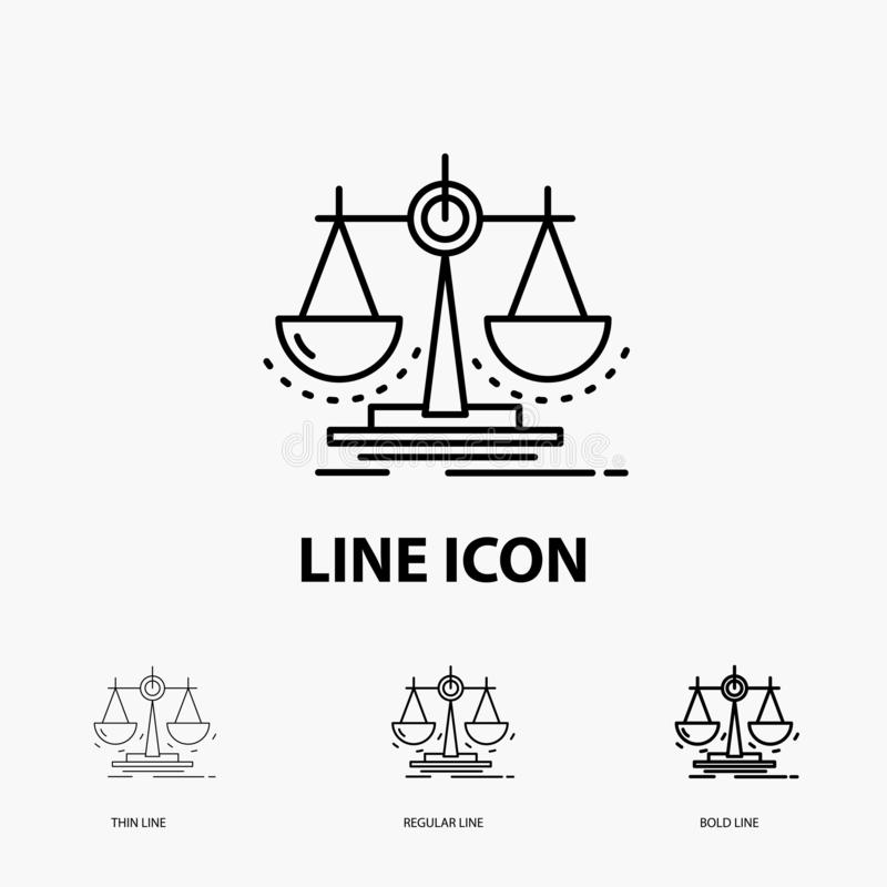 Balance, decision, justice, law, scale Icon in Thin, Regular and Bold Line Style. Vector illustration. Vector EPS10 Abstract Template background royalty free illustration