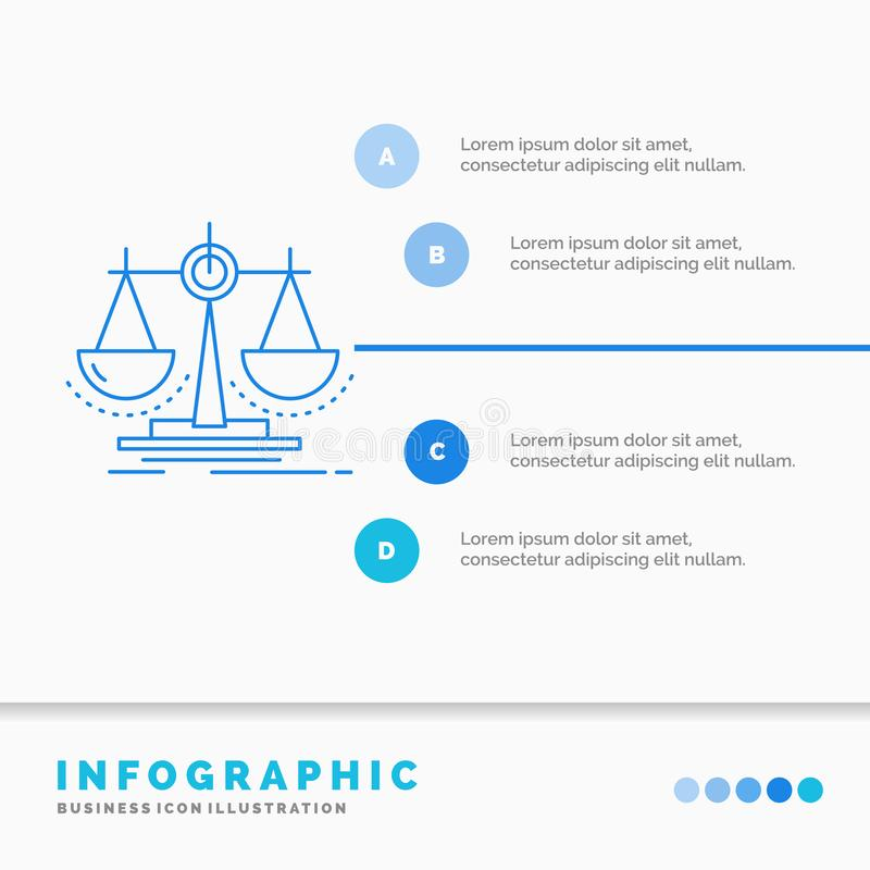 Balance, decision, justice, law, scale Infographics Template for Website and Presentation. Line Blue icon infographic style vector. Illustration. Vector EPS10 stock illustration