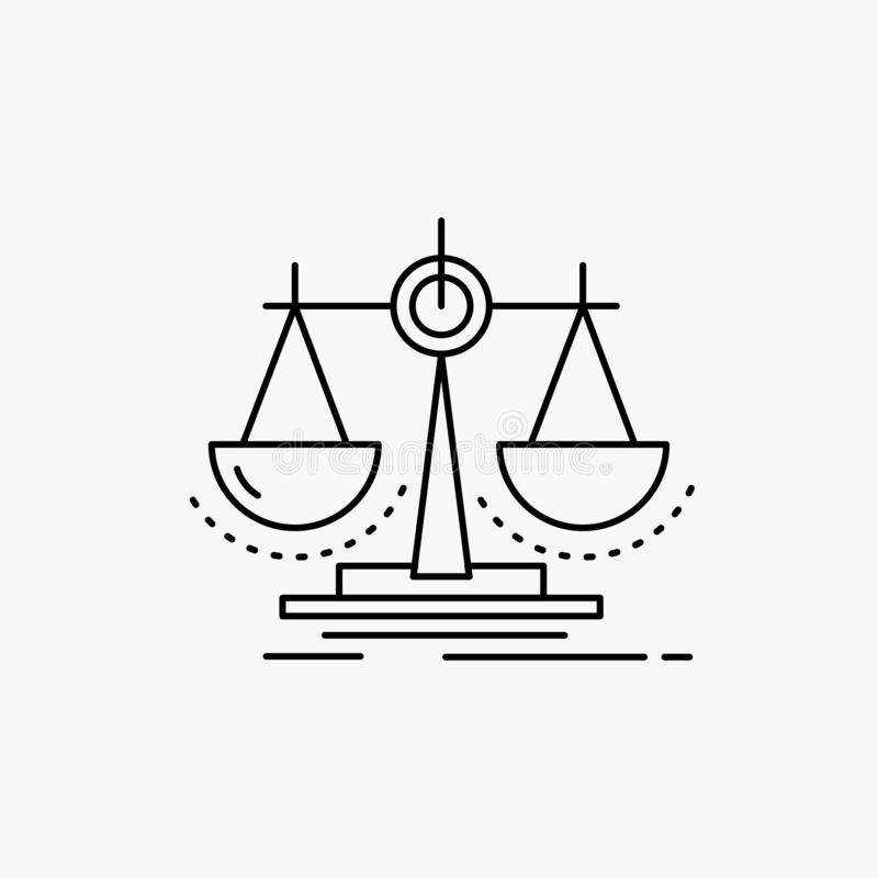 Balance, decision, justice, law, scale Line Icon. Vector isolated illustration. Vector EPS10 Abstract Template background stock illustration