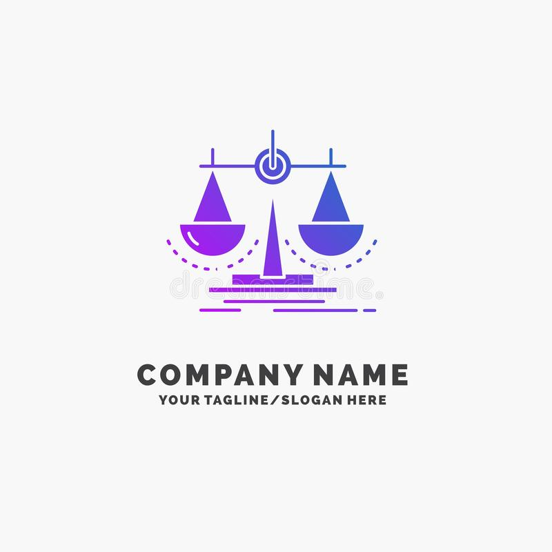Balance, decision, justice, law, scale Purple Business Logo Template. Place for Tagline. Vector EPS10 Abstract Template background royalty free illustration