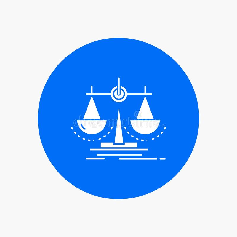 Balance, decision, justice, law, scale White Glyph Icon in Circle. Vector Button illustration. Vector EPS10 Abstract Template background royalty free illustration