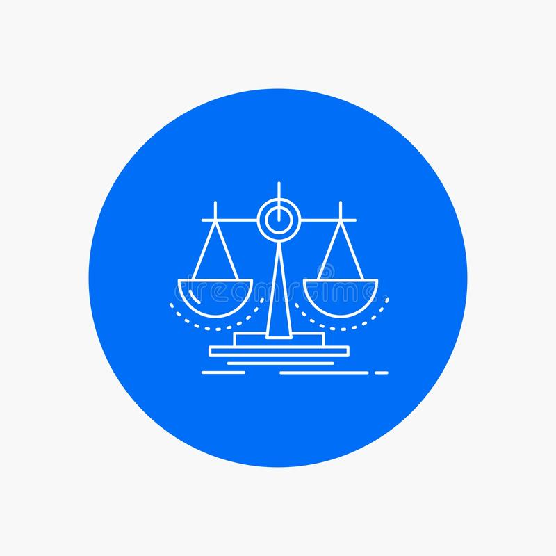 Balance, decision, justice, law, scale White Line Icon in Circle background. vector icon illustration. Vector EPS10 Abstract Template background royalty free illustration