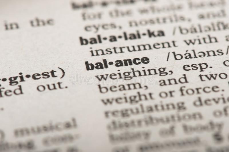 Balance in dictionary royalty free stock image