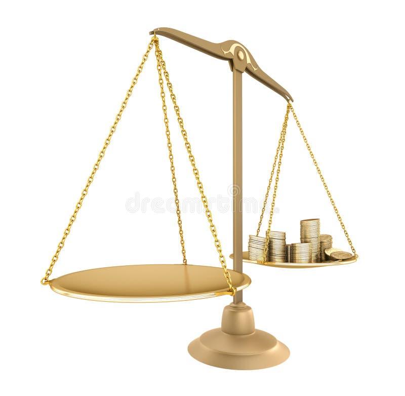 Balance del oro. Algo igual con el dinero ilustración del vector