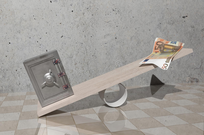 Balance. Design in 3d of a security steel and a billet on a balance royalty free illustration