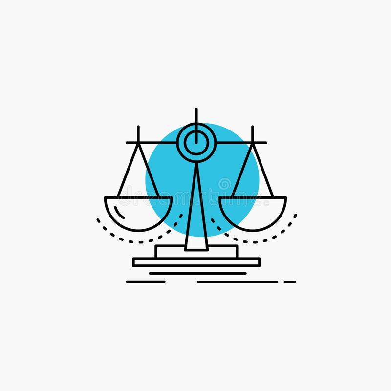 Balance, Entscheidung, Gerechtigkeit, Gesetz, Teilstrich Ikone lizenzfreie abbildung
