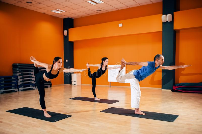 Balance exercise, female yoga group in action. Training with instructor, workout in gym. Yogi indoor stock images
