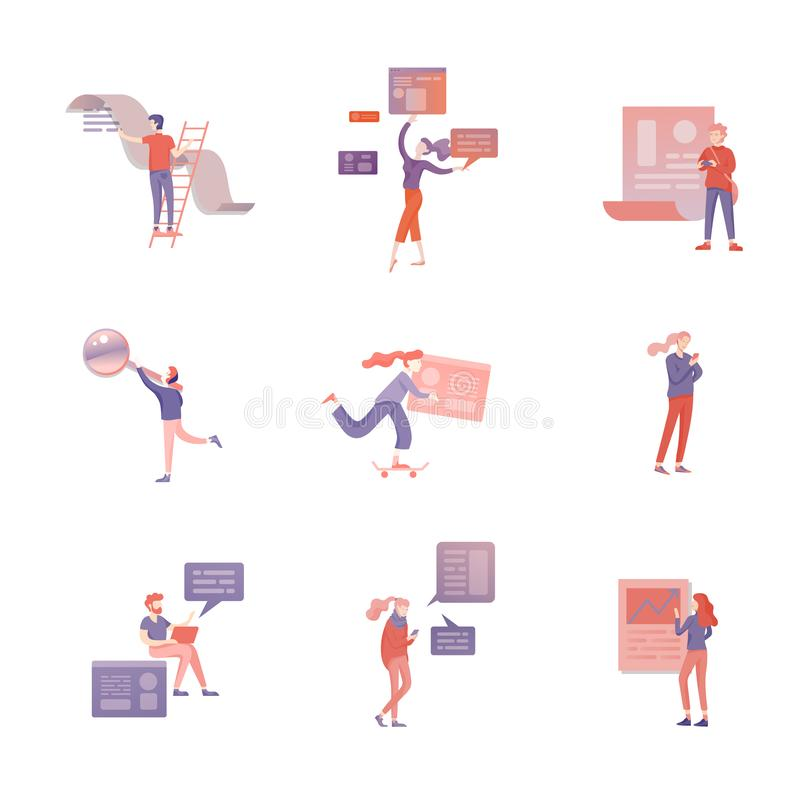 Balance financial value, management and administration concept. Characters, people engineering a plan. Statistic stock illustration