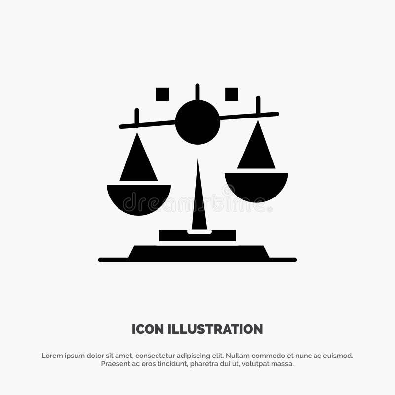 Balance, Gesetz, Gerechtigkeit, Finanzierungfester Glyph-Ikonenvektor vektor abbildung