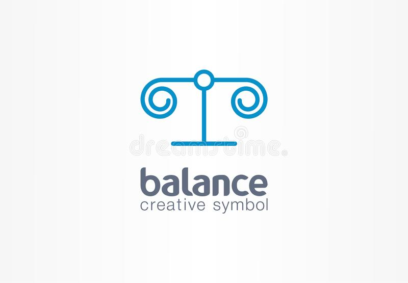 Balance justice creative symbol concept. Lawyer, attorney abstract business scale logo. Greece column, law libra stock illustration