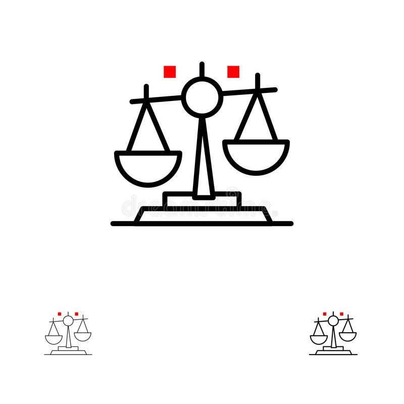 Balance, Law, Justice, Finance Bold and thin black line icon set royalty free illustration