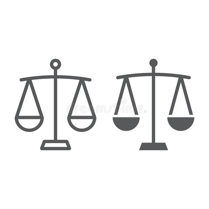 Balance line and glyph icon, finance and banking royalty free illustration