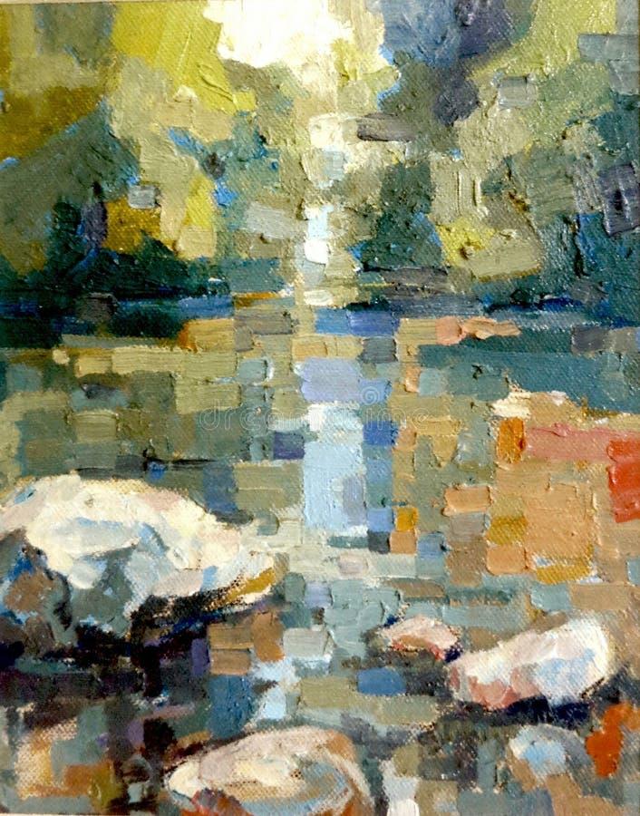 Balance no rio que corre a pintura acrílica do impressionismo do óleo fotos de stock royalty free