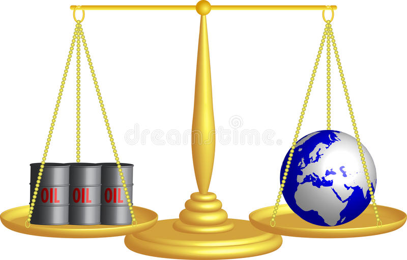 Balance of oil and the planet Earth stock illustration