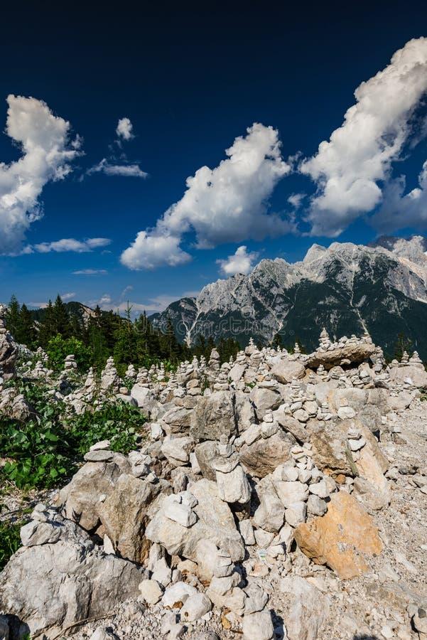 Balance rock towers in Triglav Park, Slovenia.  royalty free stock photography