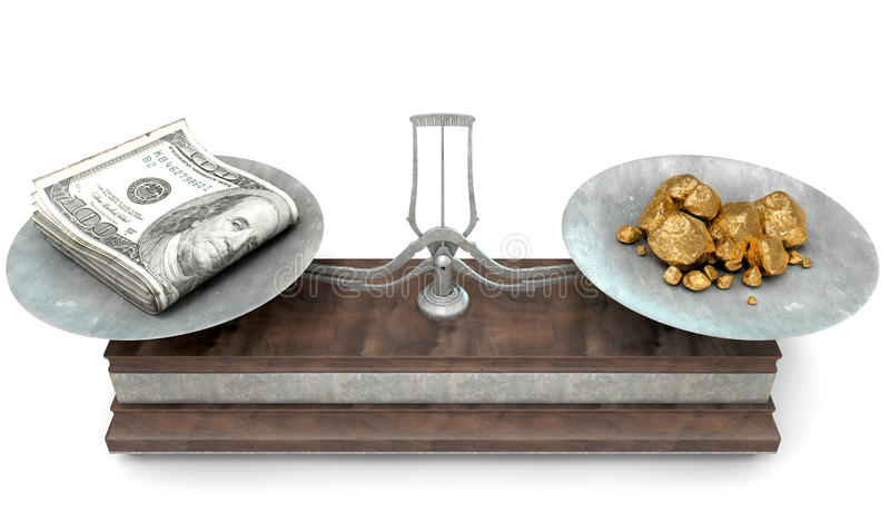 Balance Scale Comparison. An old metal and wood two pan balance scale comparing a pile of dollar notes and a pile of gold nuggets on an isolated white background stock illustration