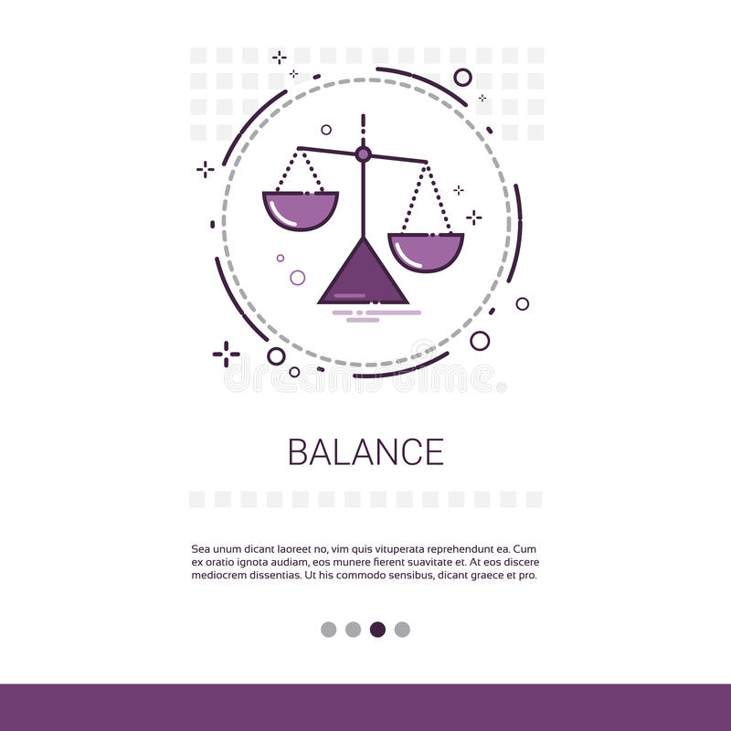 Balance Scale Economic Business Web Banner With Copy Space. Vector Illustration stock illustration