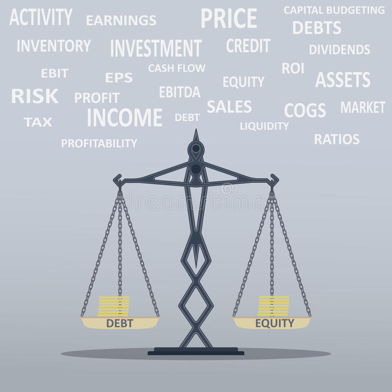 Balance Scale. Illustration of financial balance and ratio that can edited stock illustration