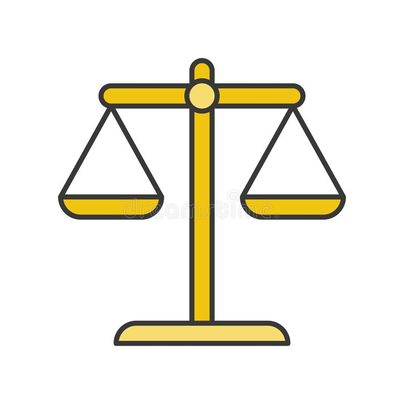 Balance scale, law and justice icon, filled outline editable stroke.  royalty free illustration