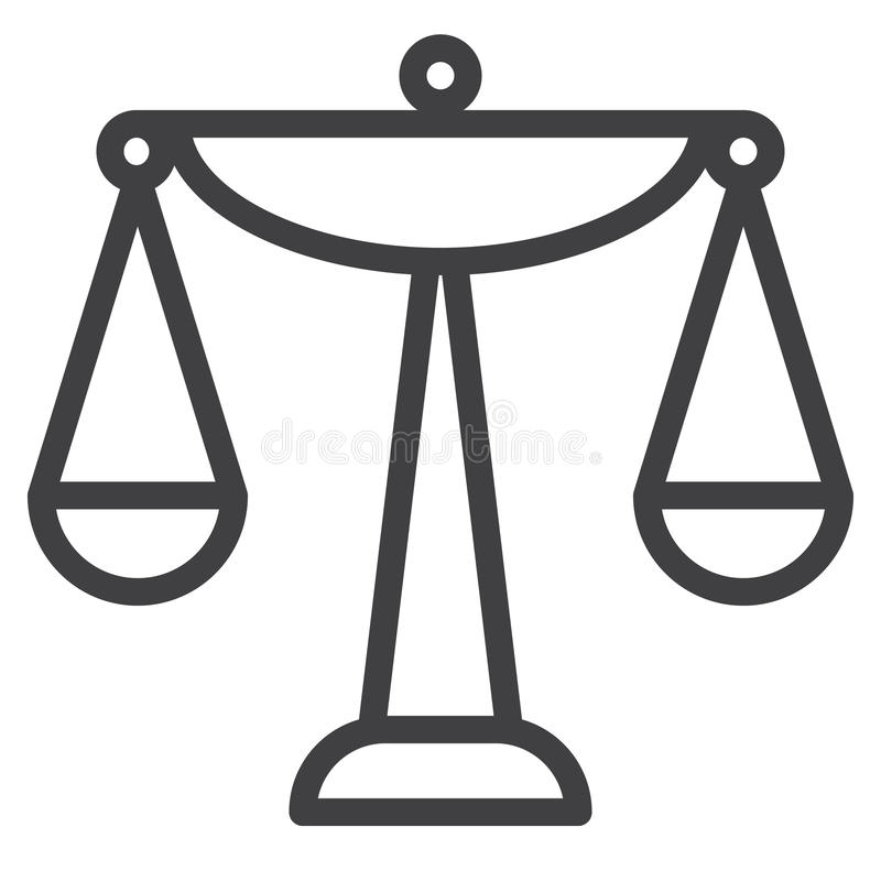 Balance scale line icon. Outline vector sign, linear style pictogram isolated on white. Symbol, logo illustration. Editable stroke. Pixel perfect graphics vector illustration