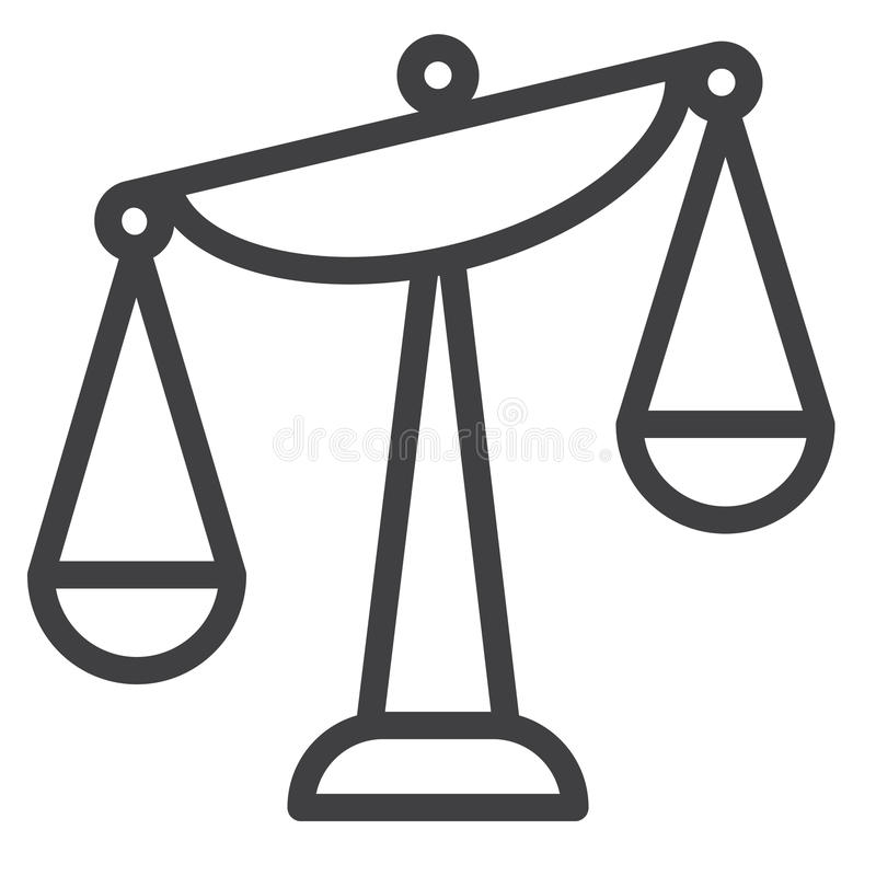 Balance scale line icon. Outline vector sign, linear style pictogram isolated on white. Symbol, logo illustration. Editable stroke. Pixel perfect graphics royalty free illustration