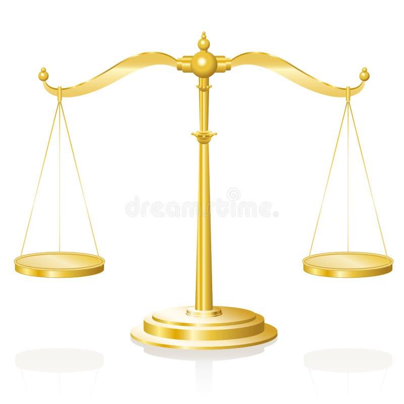 Balance Scale Weighing Device Gold. Balance scale - golden weighing device with two hanging pans perfectly balanced - vector illustration on white background stock illustration