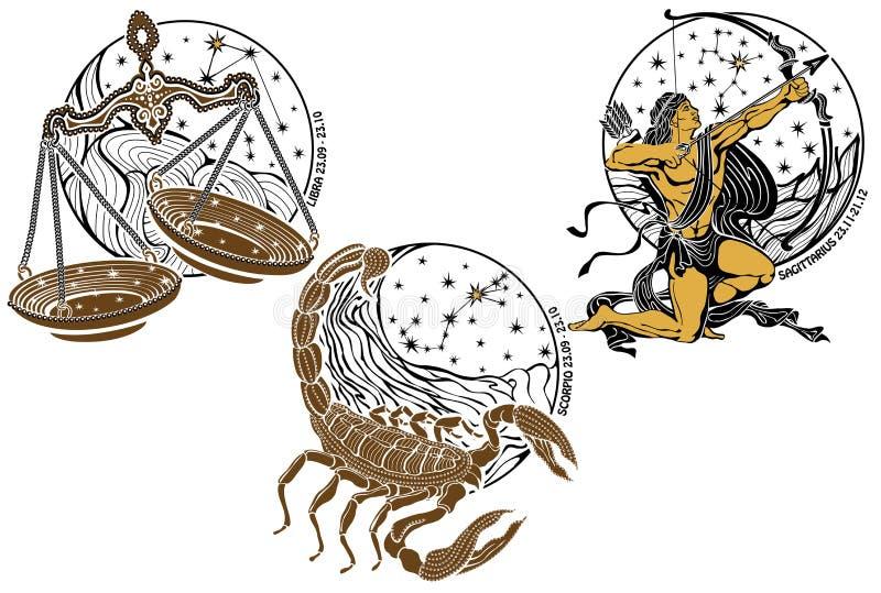 Balance, Scorpion, signe de zodiaque de Sagittaire. Horoscope illustration stock