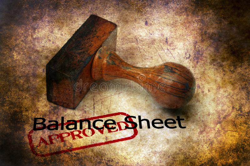 Balance sheet - approved grunge concept stock photo