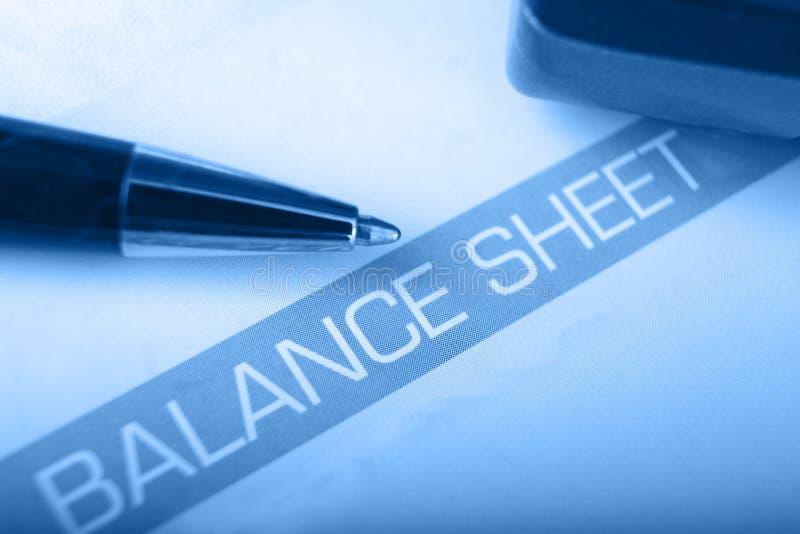 Balance sheet heading with shallow DOF. Balance sheet heading with blue overlay and shallow DOF stock image