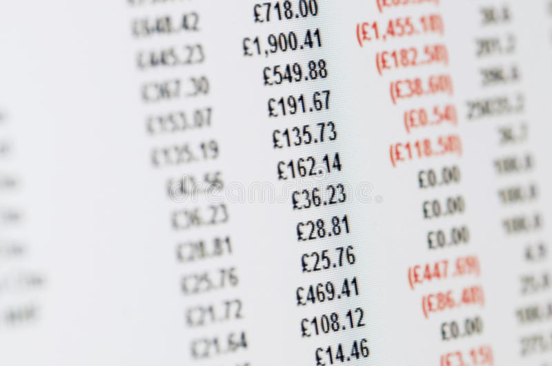 Balance sheet in pounds on screen. Business Concept - Close-up of balance sheet in pounds on a high resolution LCD screen stock photo