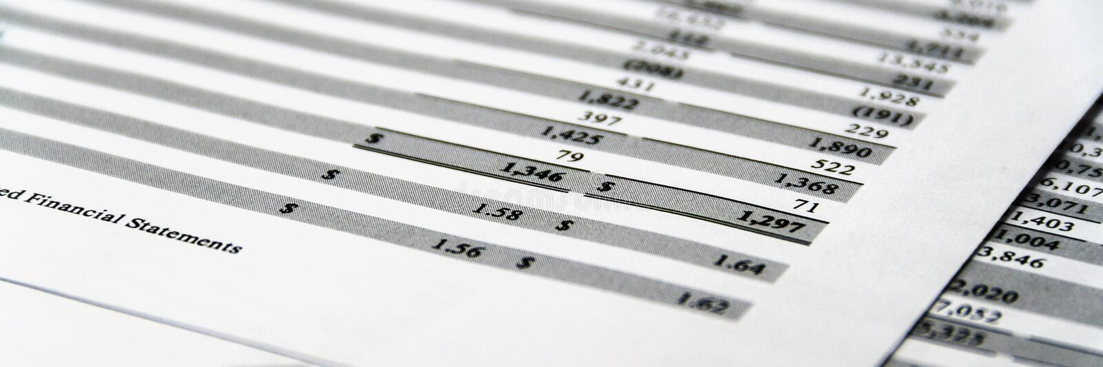 Balance sheet in stockholder report book, accounting balance sheet is mock-up stock photo