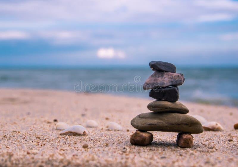 Balance of Stone arrangements on the beach. Arrangement of small stone on the sea beach at Ban Krut beach, Prachuapkirikhan south of Thailand stock images
