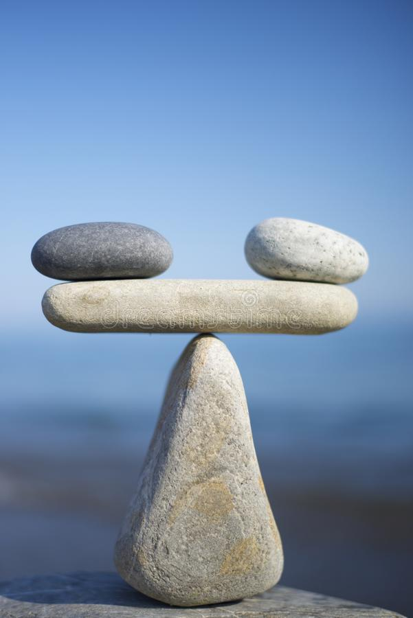 Balance of stones. Close up. stock image