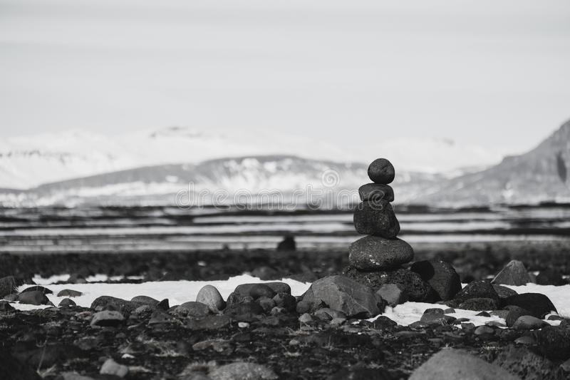 Balance stones, Zen stone stacked, black and white toned royalty free stock images