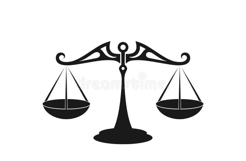 Balance stuft Ikone ein lokalisiertes Schattenbildbild, Balance und Gerechtigkeitssymbol vektor abbildung