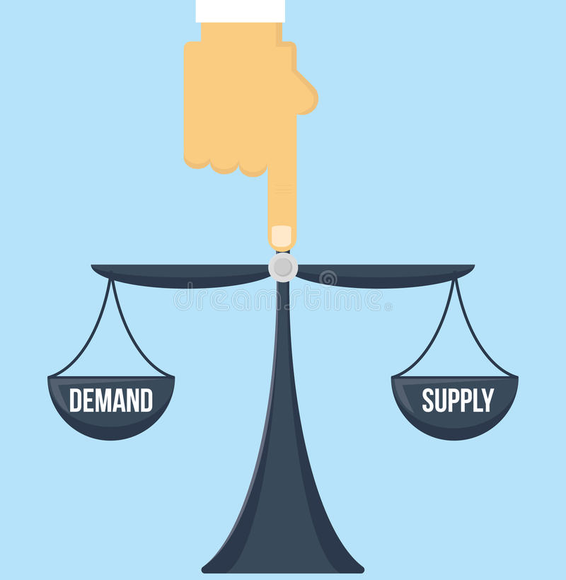 Balance of supply and demand scale with invisible hand pointing to the center vector. Balance of supply and demand scale with invisible hand of market vector stock illustration