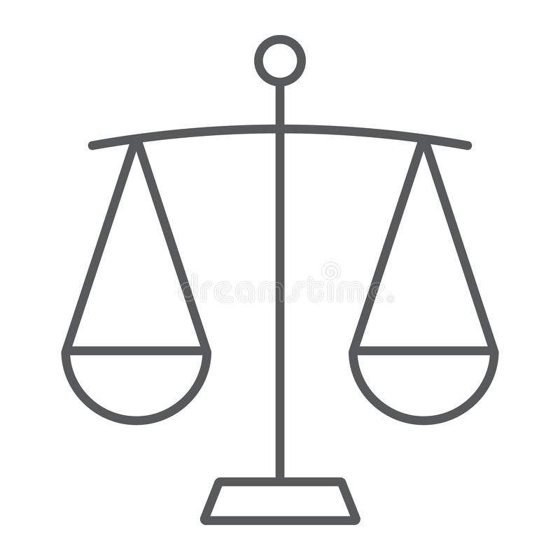 Balance thin line icon, finance and banking vector illustration